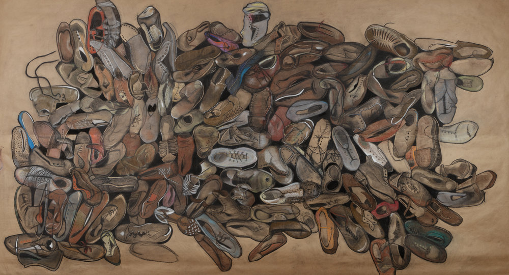 """Untitled Big"" , 2016  Conte and charcoal on brown paper, 60""x108"""