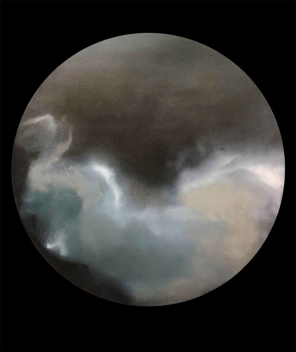 """What the Night Clouds are Doing"" , 2018 Oil on prepared black paper, 32""x28.5""  Courtesy Karen Fitzgerald & Carrie Able Gallery"