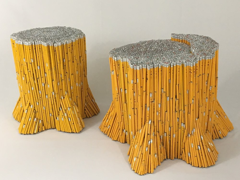"""""""Stumps"""" , 2017  Pencils, glue. Large stump: 19""""x22""""x24"""". Small stump: 19""""x16""""x14""""  Courtesy Travis Childers and Carrie Able Gallery"""