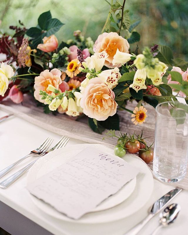 Local friends, farm flowers. Thank you, @henryphotographs for bringing this to life.  Table runner by @thelesserbear and beautiful menu by @scriptonefour.