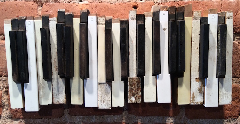 B -E - A - D, 2015  found & altered  piano key parts, pine, oak, hardware. Collection of Margo Casstevens & Kurt Madison.