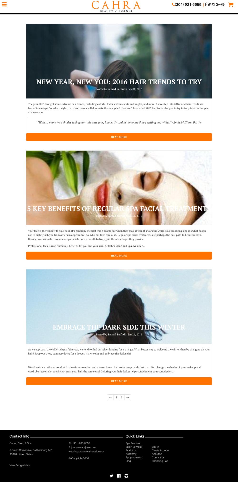 Cahra, a beauty salon, I previously blogged for.