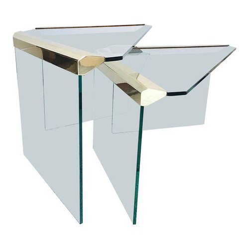 Brass glass nesting tables a pair dressing rooms interiors studio brass glass nesting tables a pair watchthetrailerfo