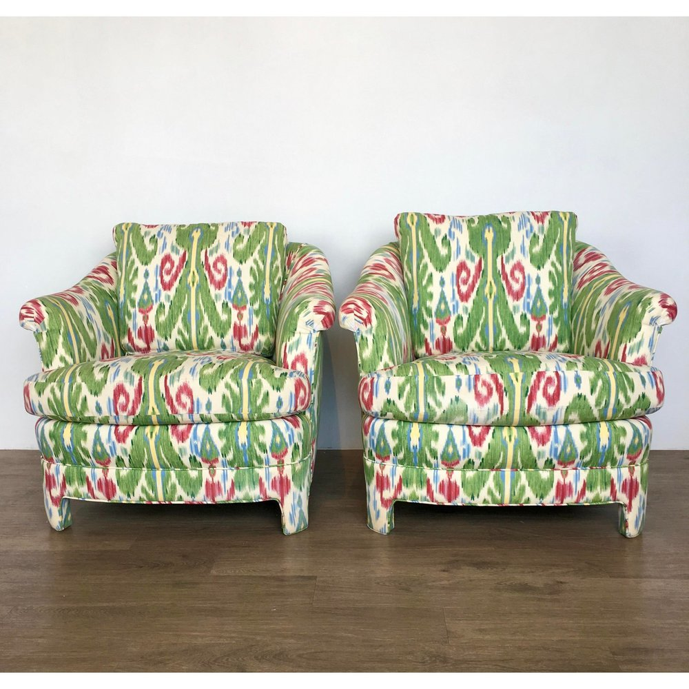 Mid Century Modern Green Ikat Arm Chairs   A Pair
