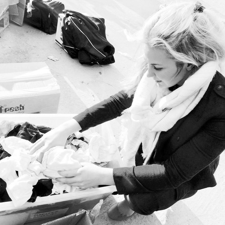 CEO Kaleigh Heard sorting underwear at the CESRT distribution centre.