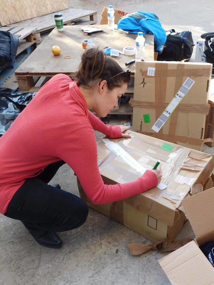 Megan at the CESRT Distribution Centre. Chios, Greece.