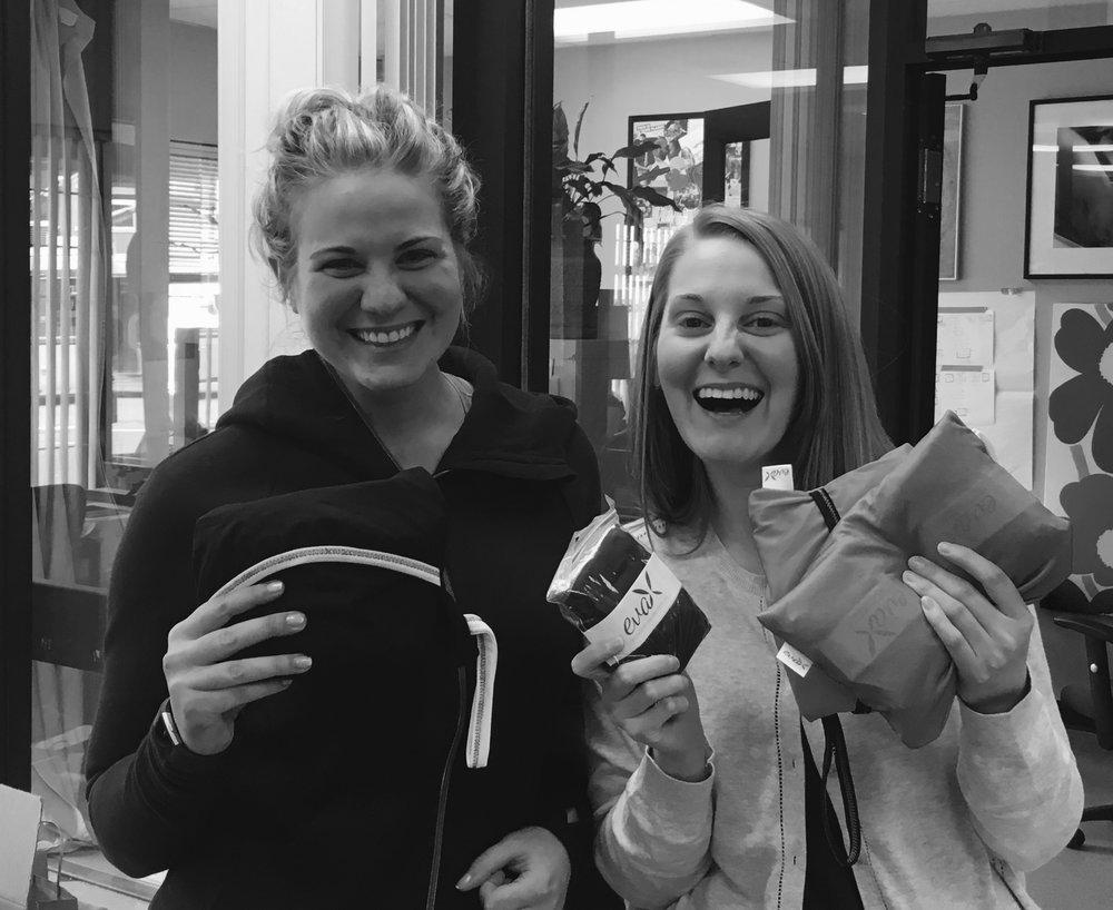 Kaleigh at Lunapads Headquarters with our Lunapads Eva Kits containing reusable period panties!