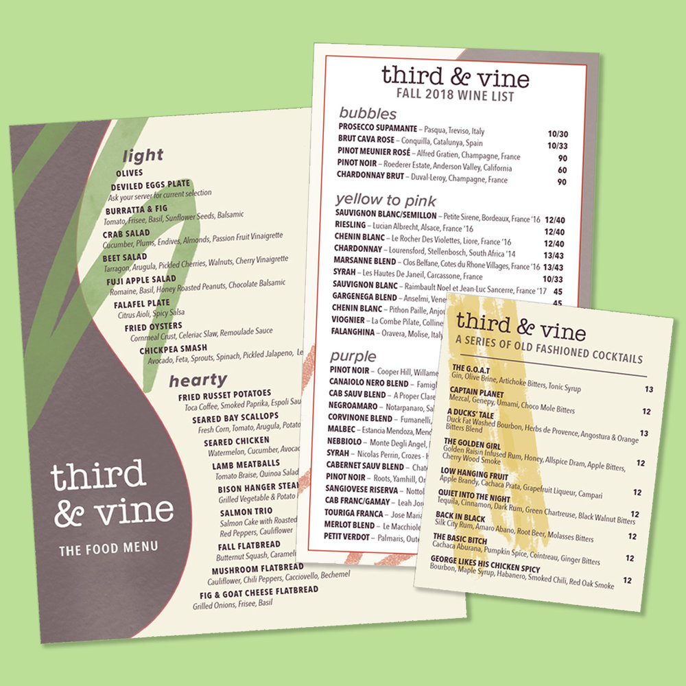 PRINT / Food, Drink, and Specials Menus