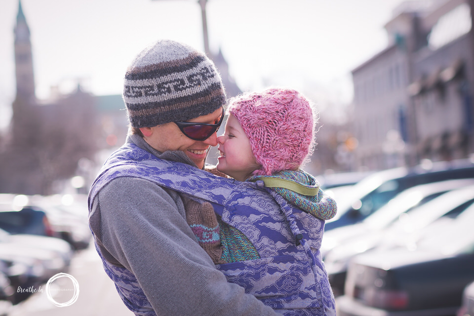 Dad babywearing toddler in Metamorphosis Conversion in Byward Market