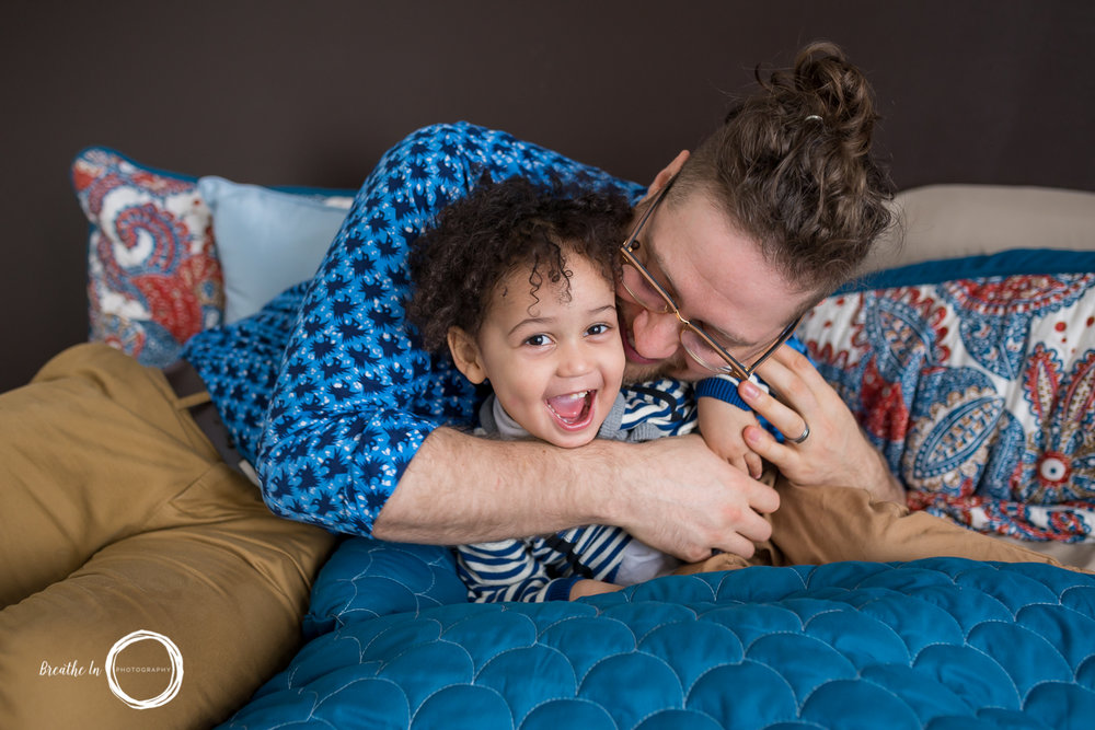 Father and Son play during Ottawa Newborn Lifestyle Session
