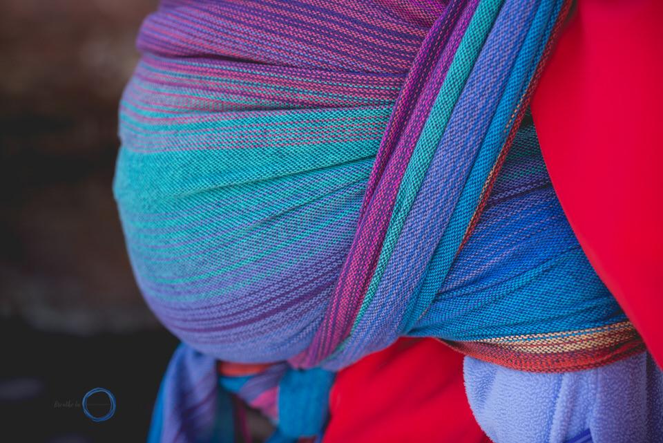 Uppymama Leona details linen handwoven Dad carries daughter on hike.