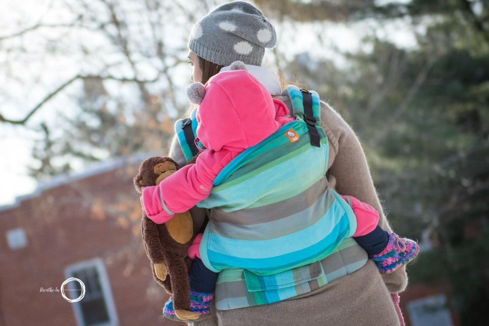 Tula Girasol Danau carrier during babywearing photo session in Ottawa.