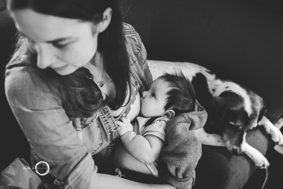 Mom breastfeeding baby during photoshoot in home.