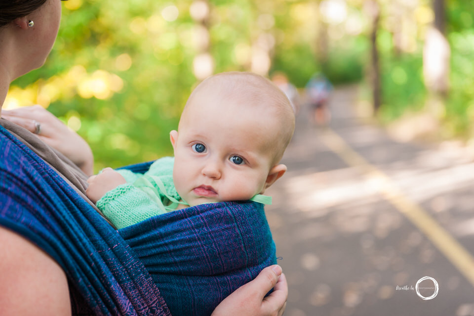 Baby in Ottawa during babywearing outdoor photo session.