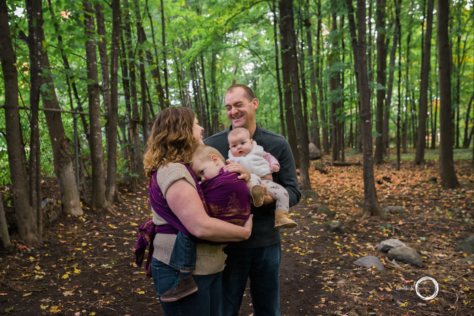 Family in Vanier during photo session while babywearing.
