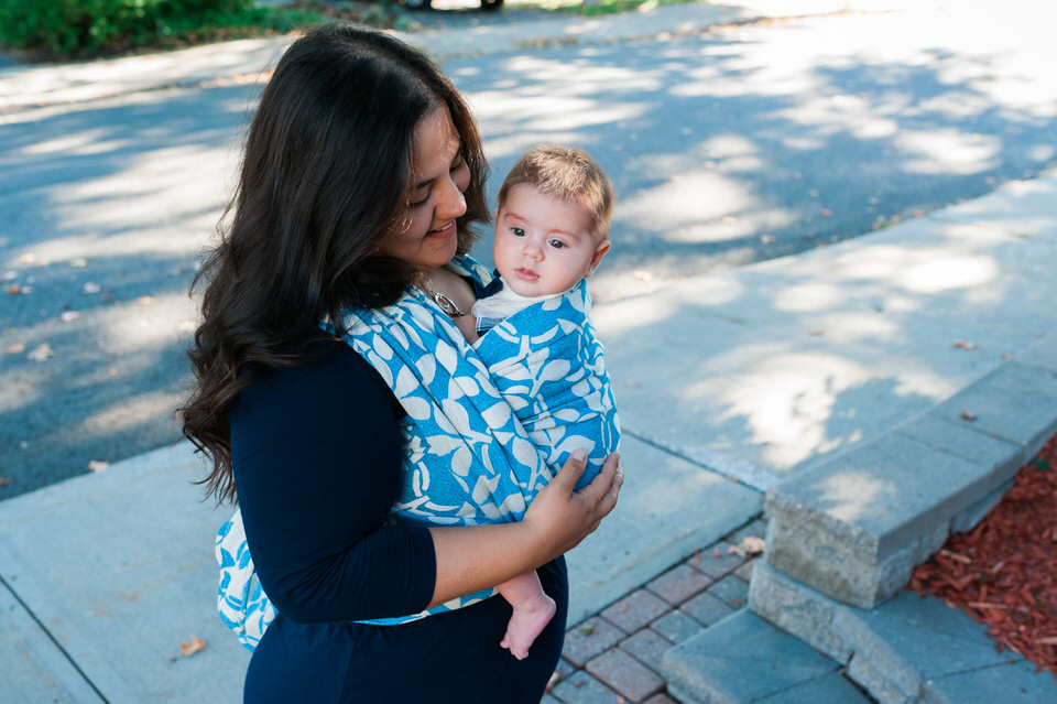 Newborn in Pavo wrap outside babywearing
