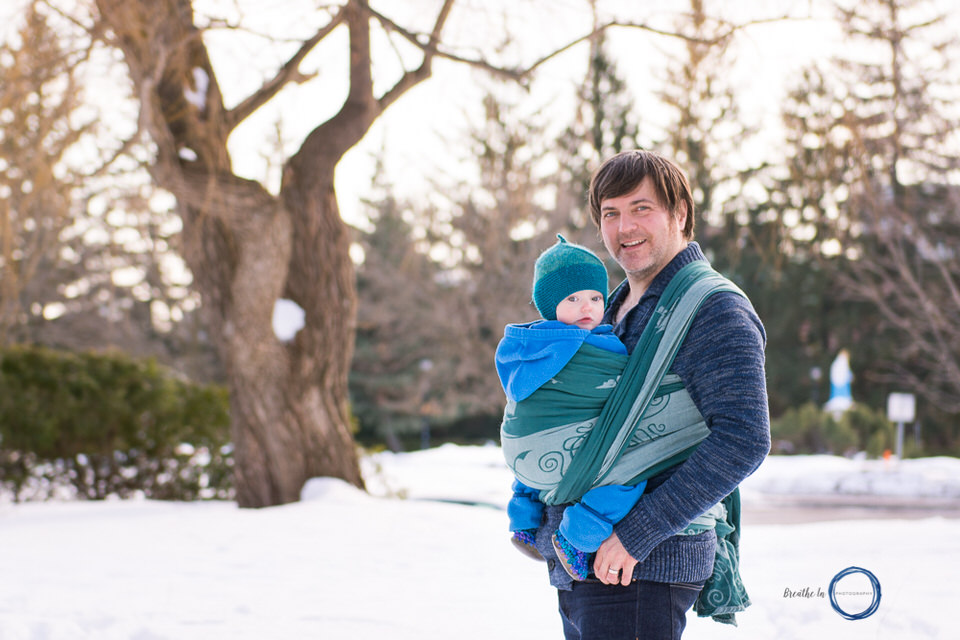 Natibaby Wool wrap carries baby boy with Dad.