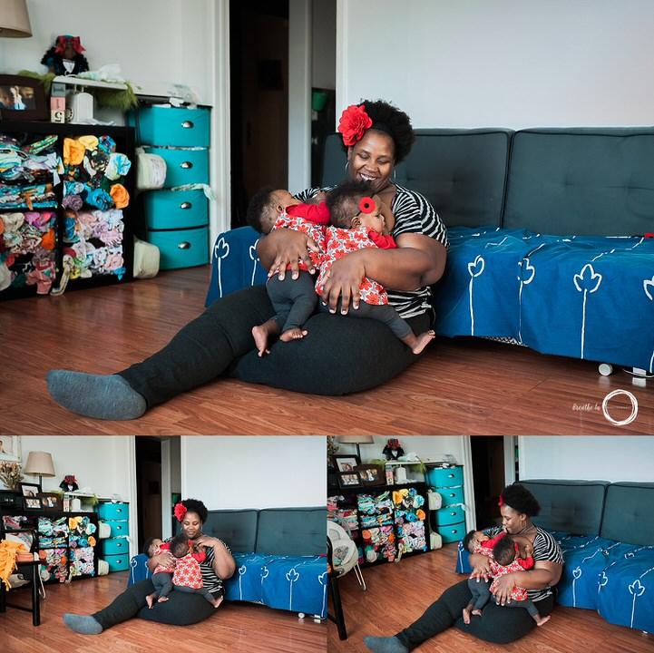 Les nombreux moments d'allaitement des jumeaux en même temps - smileys, câlins, examens dentaires.