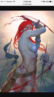Red Sonja, my friend's fav comic girl. I could have fun making her powerful.