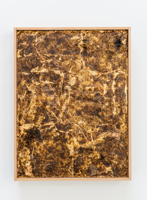 "Untitled,  2016. Ignited gunpowder, gold leaf, acrylic copolymer, on panel. 9""x12"""