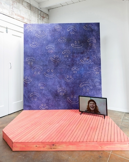 """DGM Dye and bleach on canvas, wooden platform with video, 71x54x84"""", 2017"""