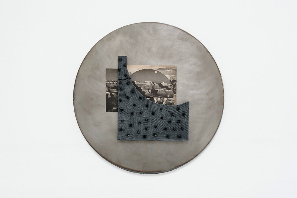 "Jon P. Geiger,  Hondo Tondo #3 , 2017. Glazed earthenware, found images, steel. 18"" diameter"