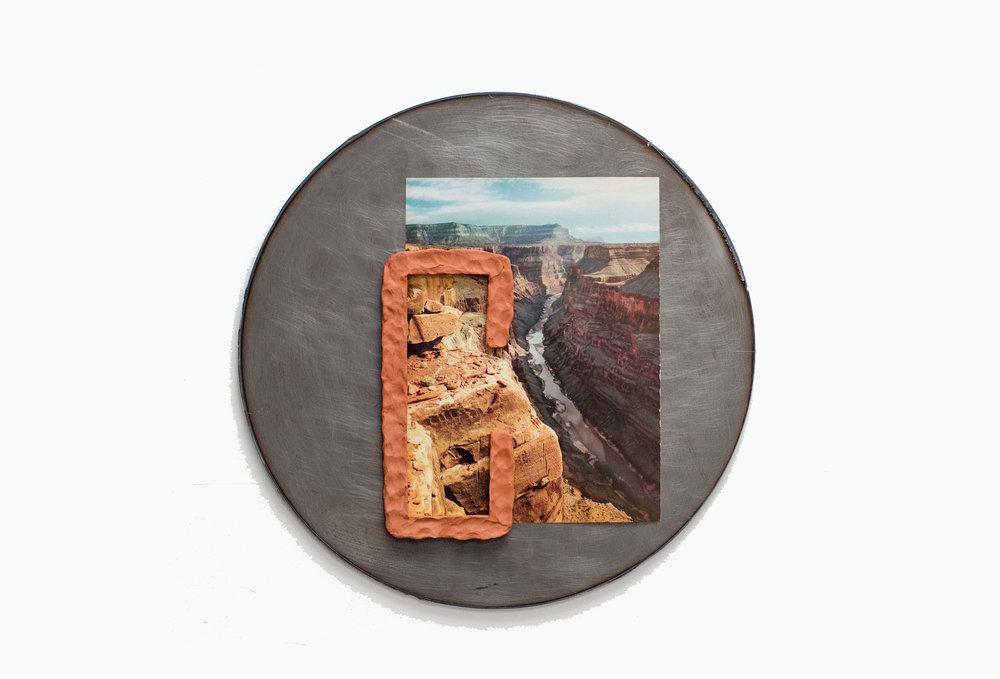 "Jon P. Geiger,    Hondo Tondo #6   ,   2017. Terra cotta, found image, steel. 18"" diameter."