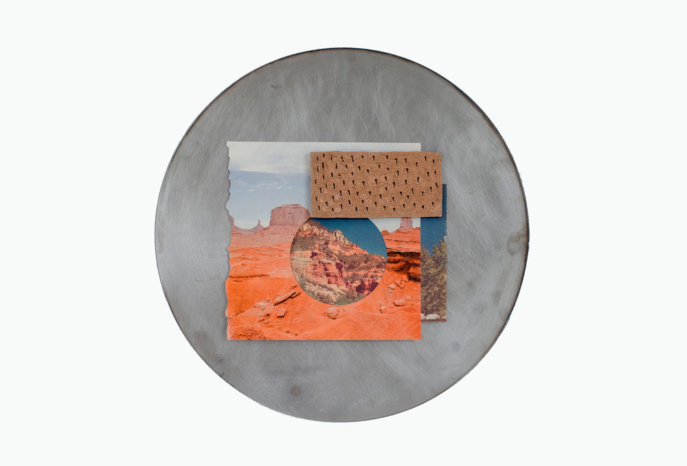 "Jon P. Geiger,    Hondo Tondo #7,  2017. Glazed earthenware, found image, steel 18"" diameter."
