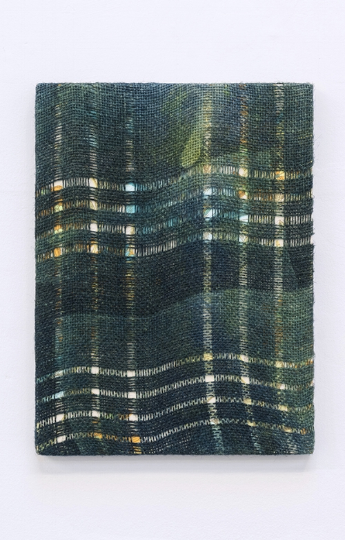 Gregory Kaplowitz,  Martin Riley (6),  2017  , Unwoven burlap, cyanotype emulsion, fabric dye, and a vintage scarf over a cradled board, 12 x 9 x 0.75 inches.