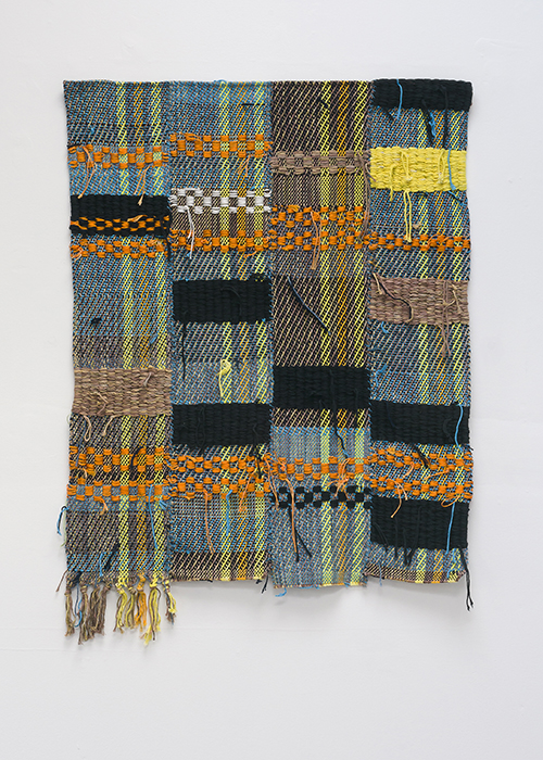 Diedrick Brackens, wading still, 2017. Woven cotton and nylon yarn, 40 x 29 1/2 inches.