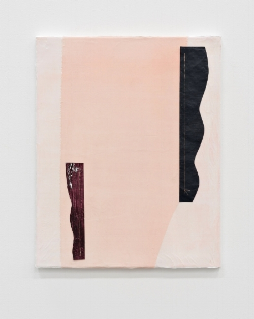 "Untitled, 2017.   20 x 16 ""   Acrylic, cotton vellum, nylon, and thread on canvas"