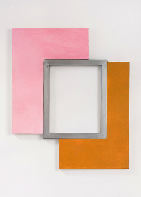 Pose , 2018.   Acrylic and oil on shaped canvases, steel. 36 x 30 inches.