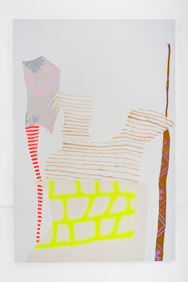 "Stacey Beach Form 34, 2018 Sewn fabric stretched on board, spray paint and fabric marker. 72"" x 48"""