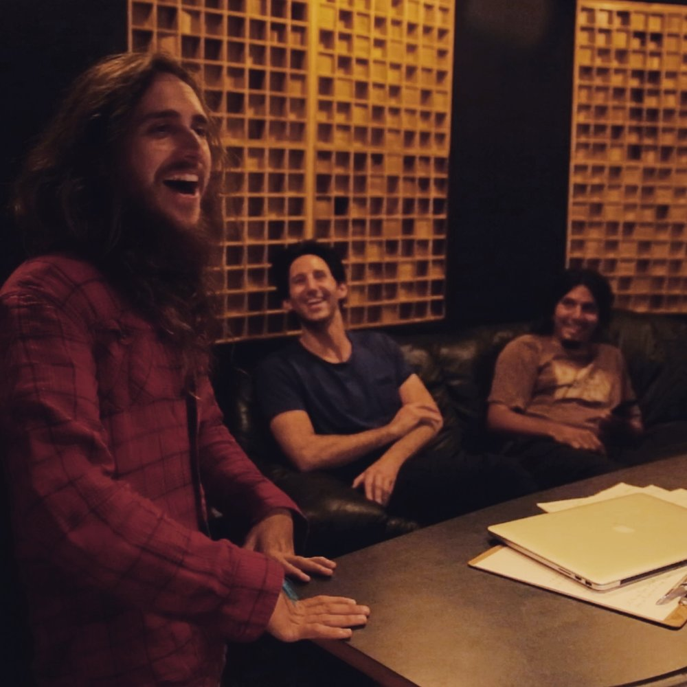 Laughing in the studio