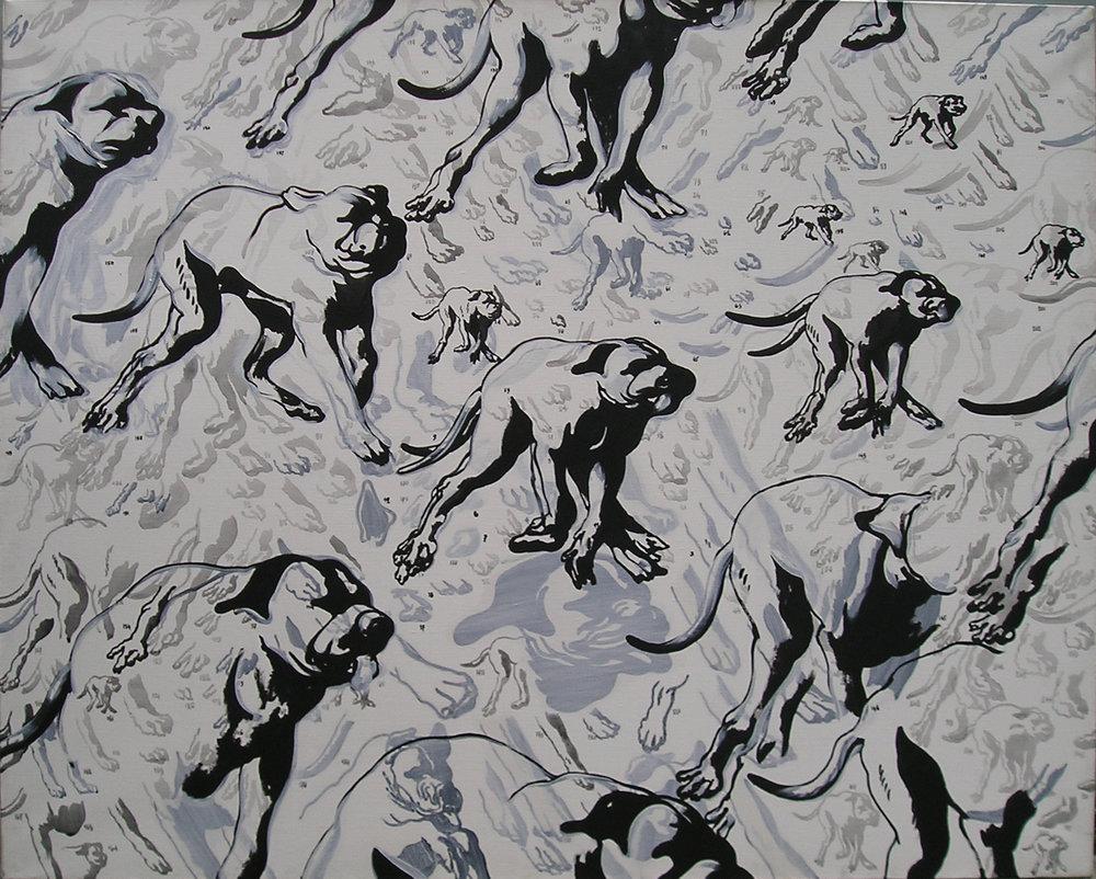 Henri Cueco, Morceaux de chiens, 1993, acrylic on canvas, 130 x 162 cm