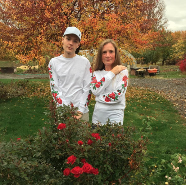 Scott and his mother wearing his rose-patterned shirts.