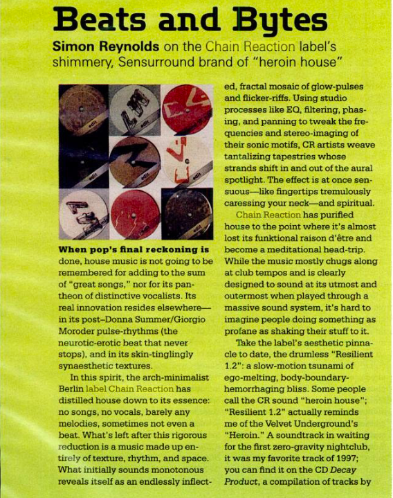 The April 1998 issue of  Spin , Simon Reynolds explaining dub techno to the masses.