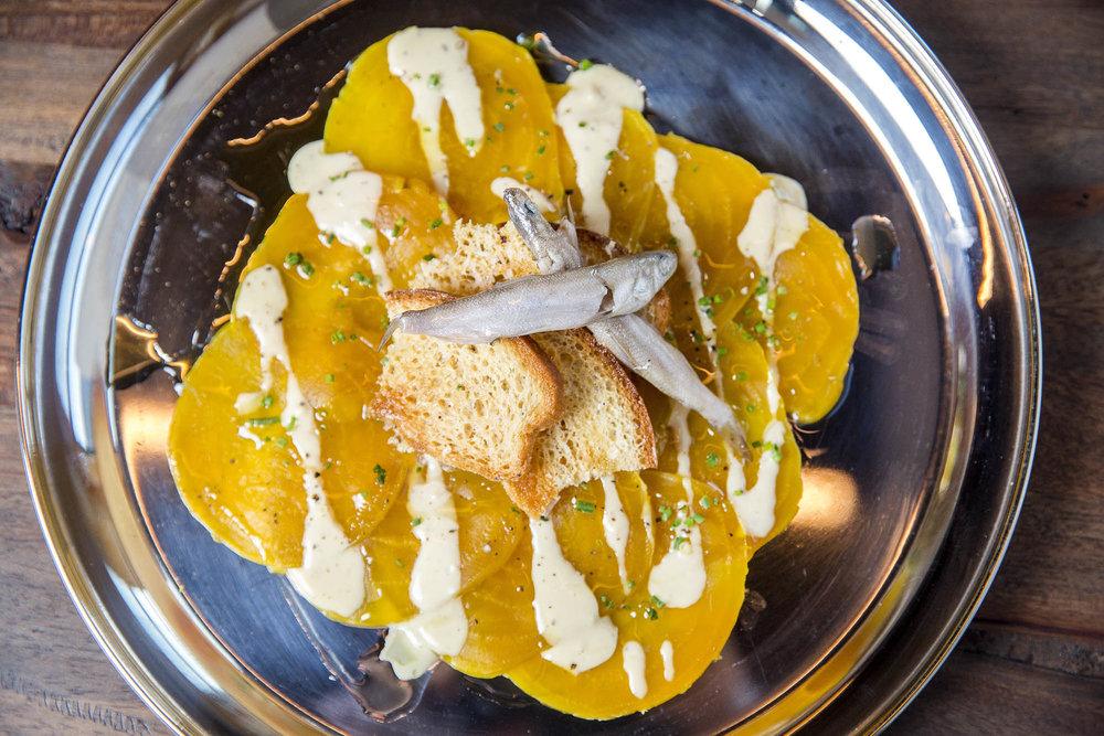 Ash Roasted Beet Caesar, Parmesan Crouton