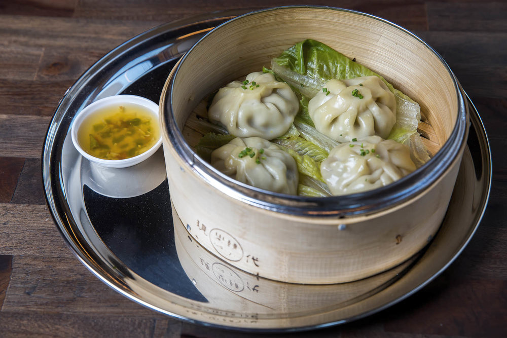 Chicken Pho Soup Dumpling, Charred Onion, Ginger, Scallion, Mint
