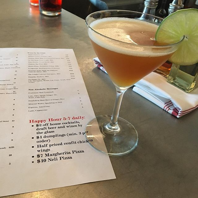 "Get this ""Ginger Doble"" and the rest of our house cocktails for $2 off during happy hour. 5-7 daily!"