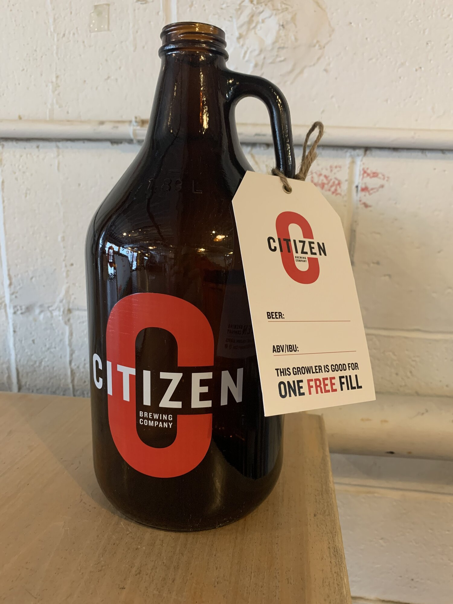 64 oz Growler + One Free Fill tag  Citizen Brewing Company   Northeast Calgary Brewery