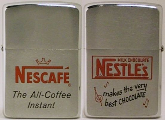 "1960 two-sided Zippo for Nescafe ""The All-Instant Coffee"" on one side, and Very Best Chocolate"" on the other.   The origins of the company goes back to 1867 and Henri Nestle, the history found  HERE"