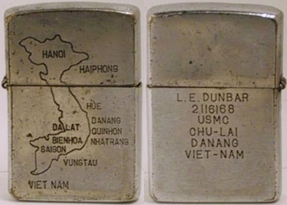"1965 Zippo engraved in-field, with a map of Vietnam on one side and ""LE Dunbar, 2116168,  USMC, Chu Lai, Danang, Viet-Nam"" on the other."