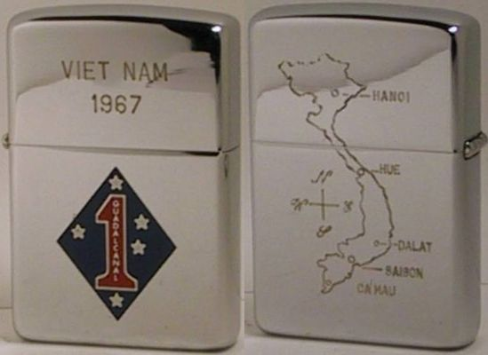 1st Marine Division USMC logo on front,  map of Vietnam on the reverse, a factory engraved 1966 Zippo