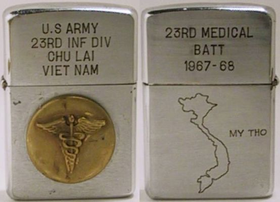 "This is a 1961 Zippo for the US Army 23rd Infantry Division, Chu Lai Viet Nam. The lighter has an attached medical badge on the front and is engraved ""23rd Medical Battalion 1967-68"" with a map of Vietnam"