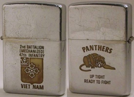 "1968 Zippo 2nd for the Battalion (Mechanized) 47th Infantry Viet Nam.  The reverse has the Panthers logo and slogan ""Up Tight Ready to Fight"""