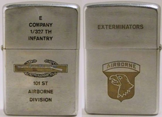 "1971 factory-engraved Zippofor E Company 1/ 327th Infantry  101st Airborne Division with with a Combat Infantryman Badge. The reverse reads ""Exterminators - Airborne""  with the emblem of the 101st Screaming Eagle"