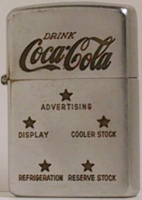 1946  Zippo with advertising directed at prospective Coke distributors. Five stars representing Advertising, Cooler stock, Reserve stock, Refrigeration and Display.