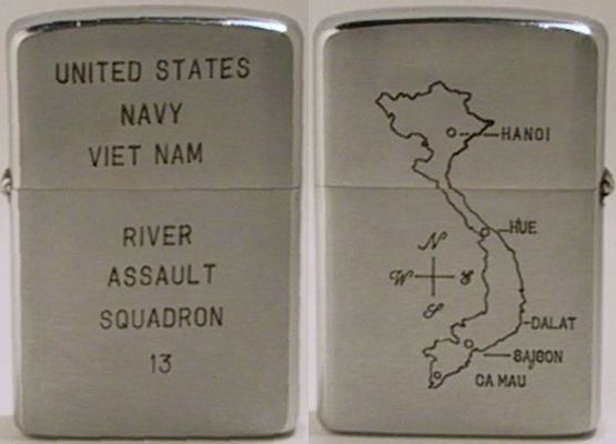 "1962 Zippo engraved ""United States Navy Viet Nam - River Assault Squadron 13"".  It has a map of Vietnam on the back"