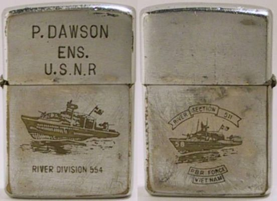 "1968 Zippo with the engravings ""P. Dawson Ens. U.S.N.R. River Division 554"" and a PBR on the front and one on the reverse that reads ""River Section 511 PBR Force Vietnam"""